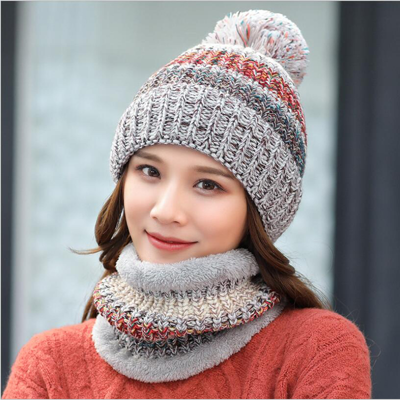 fe7a7267e63 ... Ymsaid 2018 Fashion Winter Hat Thick Women s Hat Warm Pom Poms Hats For  Female Girl Knitted ...