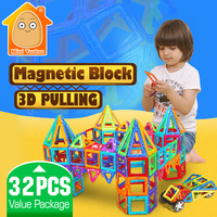 Minitudou Kids Toys 32PCS Enlighten Bricks Educational Magnetic Designer Toy Square Triangle Hexagonal 3D DIY Building
