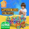 Minitudou kids brinquedos 32 pcs enlighten bricks educacional brinquedo designer praça triângulo hexagonal 3d diy blocos de construção magnético
