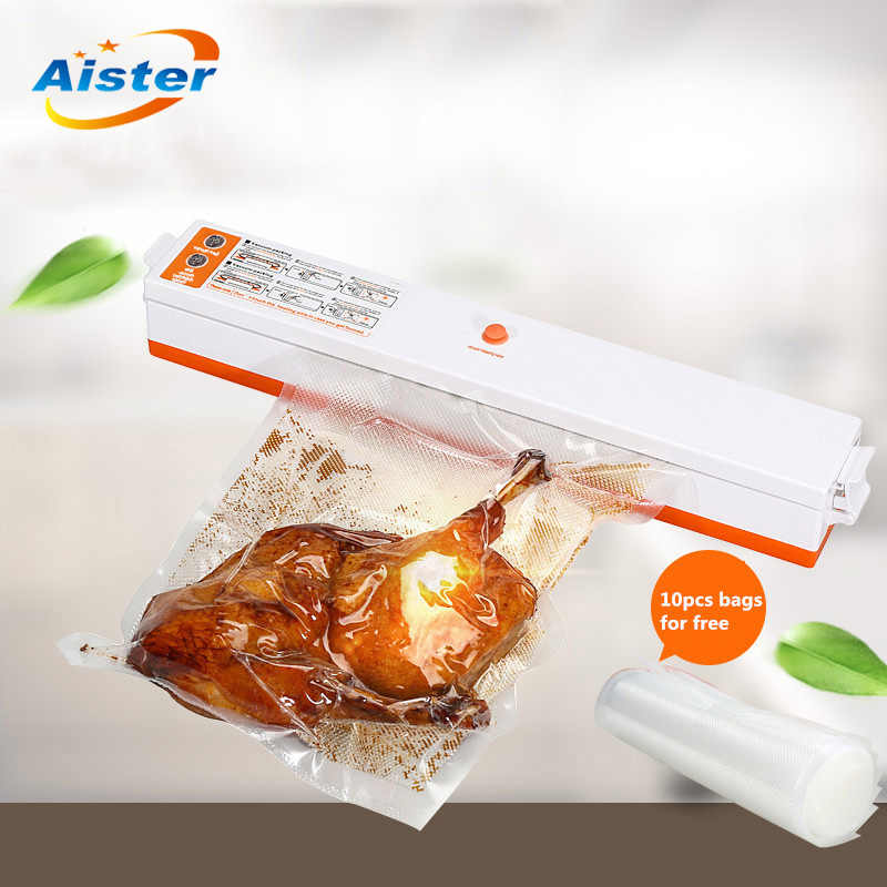 220V Household Food Vacuum Sealer Machine Vacuum Packing Machine Film Container Food Sealer Saver Include 10Pcs Bags Free