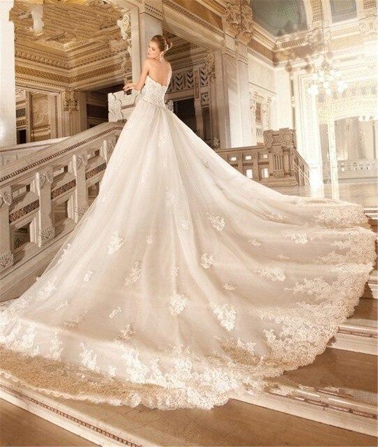 balón vestido de novia largo cola de novia de novia de encaje