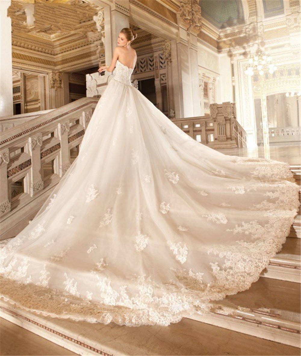 Ball Gown Sweetheart Long Tail Bride Wedding Dresses Lace