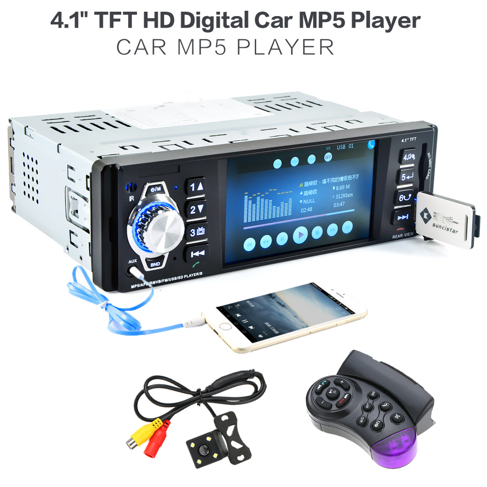 universal 4.1 inch 1 Din Car Radio Audio Stereo 1Din SD USB AUX FM Radio Station BT with Rearview Camera Remote Control