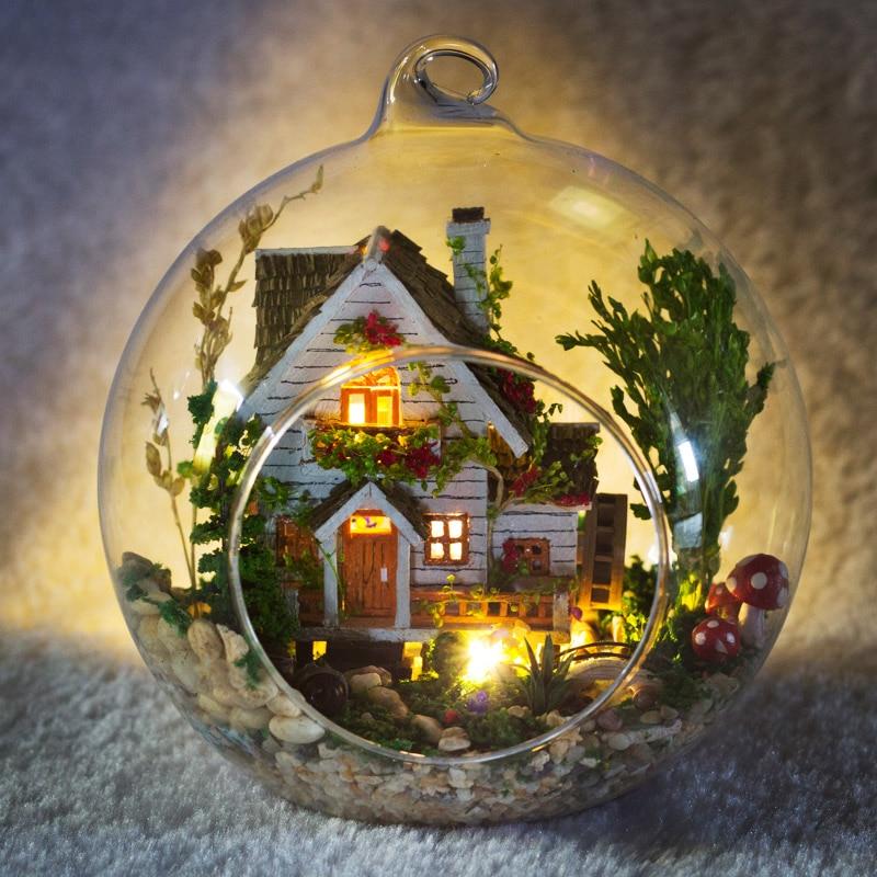 Creative DIY Dollhouse Miniature With Furniture Glass Ball Hemp Rope LED Handmade Elegant Casa Gift Toys For Children G015 #D