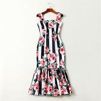 Summer Dresses 2018 High Quality Women Designer Runway Dress Rose Printed Spaghetti Strap Casual Mermaid Dress