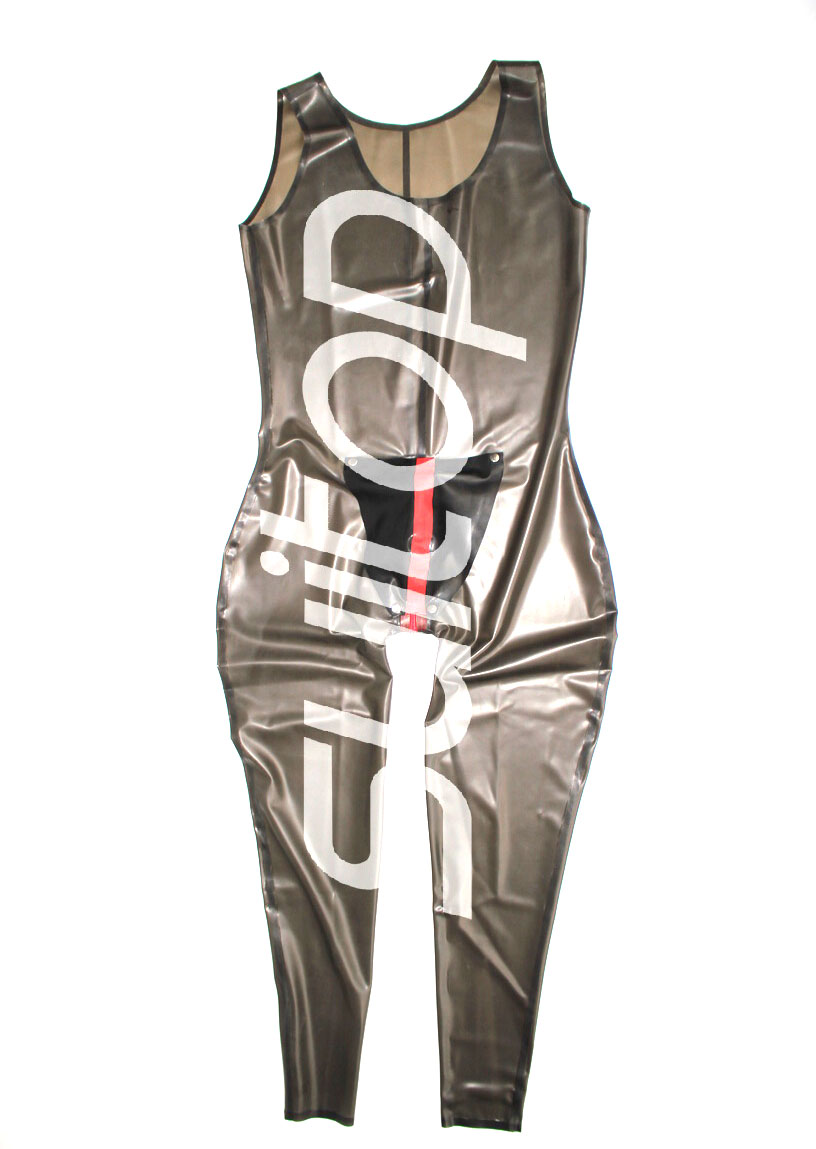 two color latex sportswear catsuit with crotch zipped  and  cod pieces CATSUITOP MEN'S BODY SUITS in transparent black