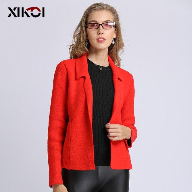 XIKOI 2019 Thời Trang Phụ Nữ Áo Khoác Rắn Áo Phụ Nữ Giản Dị đan Máy Tính Mở Stitch Với Túi Người Phụ Nữ Chiếc Áo Len dài tay áo