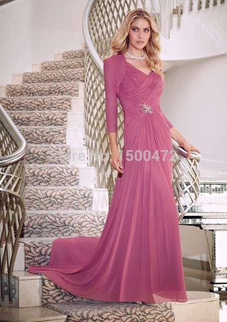 Elegant Long Chiffon Mother Of The Bride Dresses 2016 Jacket With Long  Sleeves Wedding Guest Vestido