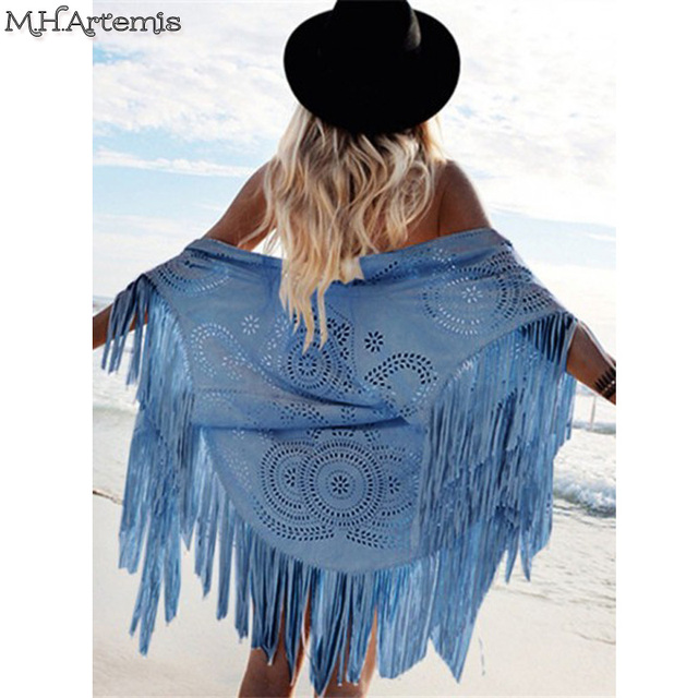 M.H.Artemis Boho chic Kimono Design Faux Suede Shawl laser cut out Floral Asymmetric Tassel Kimono Beach Summer Style Cover-up