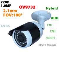 Home Security 720P AHD TVI CVI CVBS 4 In 1 Output Video Camera Waterproof Outdoor