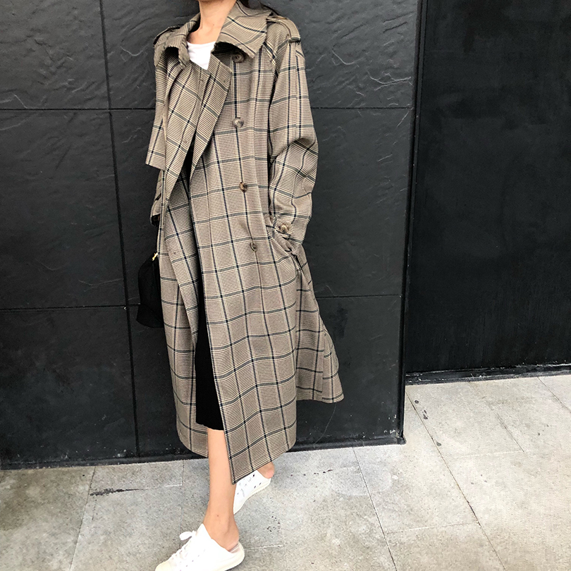 2019 Female Autumn Winter Mid-long Double Breasted Vintage   Trench   Coat Office Lady Outwear Lattice Outerwear Cloak For Womens