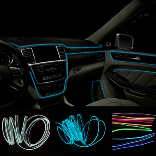 Car Interior LED EL Wire Rope Tube Line strip For renault duster ...