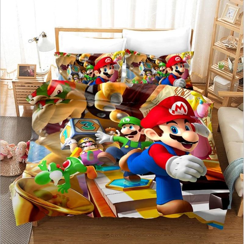 Anime Super Mario Bros Cosplay ensemble de literie housses de couette taies d'oreiller couette double complet taille unique literie ensemble de linge de lit