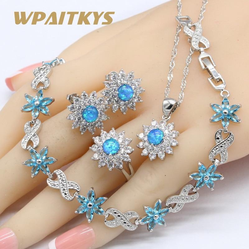 Голубой опал серебряный цвет Свадебные Ювелирные наборы для женщин ожерелье кулон серьги кольца небесно-голубой кристалл браслеты