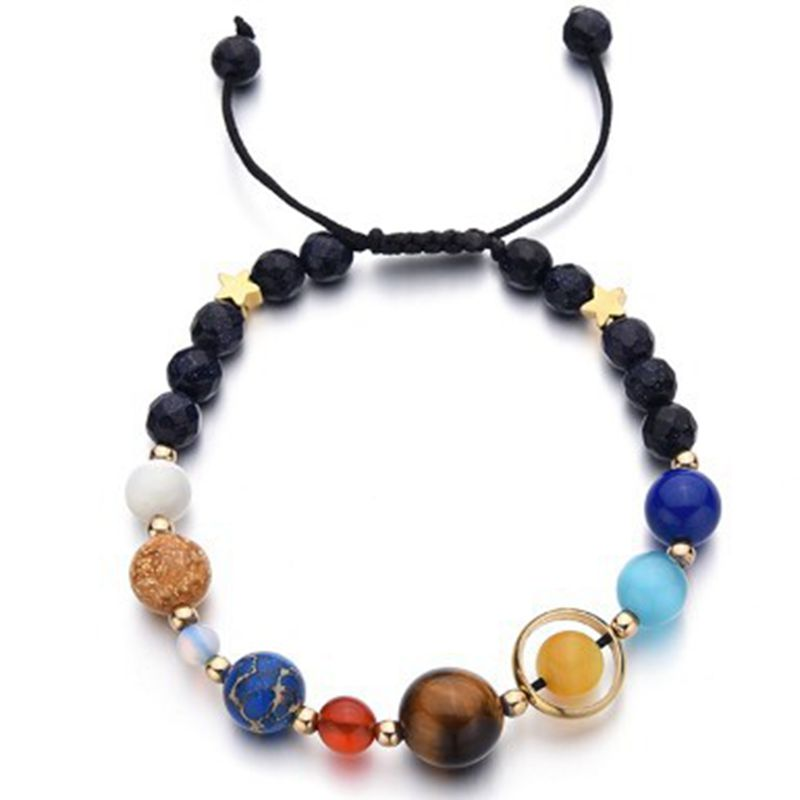 Fashion Universe Galaxy the Eight Planet Solar System Guardian Star Natural Stone Beads Bracelets & Bangles Women Indian Jewelry