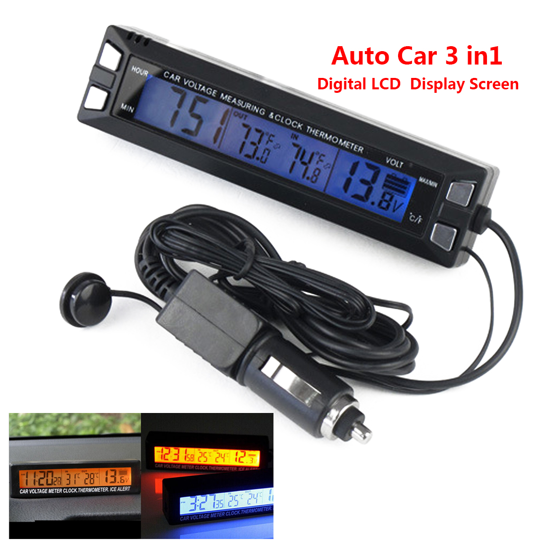 LCD Digital Auto Car 3in1 Clock Thermometer Temperature Monitor Meter In/Out Screen Battery Voltage Clock 3 in 1 multifunctional car digital voltmeter usb car charger led battery dc voltmeter thermometer temperature meter sensor