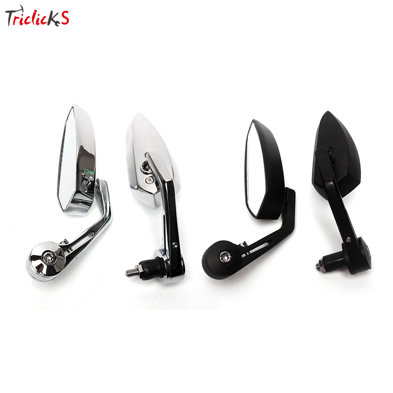 Triclicks 2x Universal Chrome Black Rear View Mirrors Left Right Motorcycle Billet Aluminum 7/8 22 Bar End Side Rearview Mirror