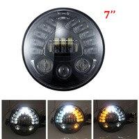 Black/Chrome 7'' projector headlights for Harley Davidson Touring Road King 7 inch daymaker headlamp Waterproof led lights