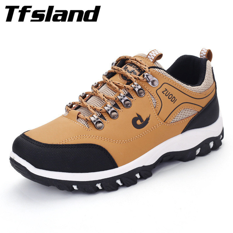 Tfsland hombres calientes de cuero de la PU zapatos deportivos antideslizantes zapatos de escalada masculinos al aire libre para hombre entrenadores botas de escalada hombre senderismo zapatos zapatillas de deporte
