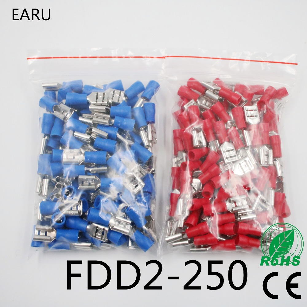 FDD2-250 Female Insulated Electrical Crimp Terminal for 1.5-2.5mm2 Connectors Cable Wire Connector 100PCS/Pack FDD2.5-250 FDD fdd2 250 female insulated electrical crimp terminal for 1 5 2 5mm2 connectors cable wire connector 100pcs pack fdd2 5 250 fdd