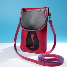 2017 Women Messenger Bags  Fashion Casual Shoulder Phone Pouch Lovely Umbrella Cute Cat Charcater Leather Small Crossbody Bag