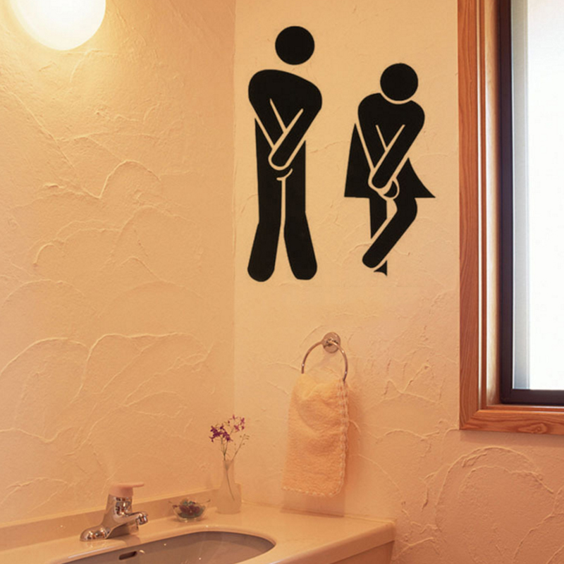 Aliexpress.com: Compre 1Pcs Funny Toilet Entrance Sign Decal PVC Stickers  Wall Stickers Men And Women Toilet Door Paste Wall Decorations Toilet  Sticker De ... Part 70