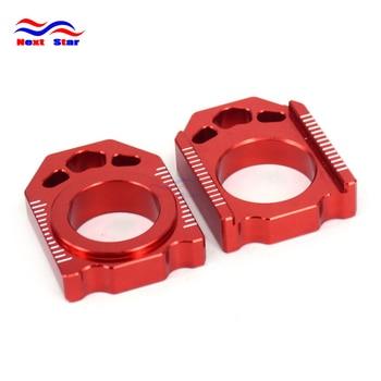 цена на Red CNC Rear Chain Adjuster Axle Block For HONDA CR125R CR250R  CR 125 250 CRF250R CRF250X CRF450R CRF450X CRF450RX
