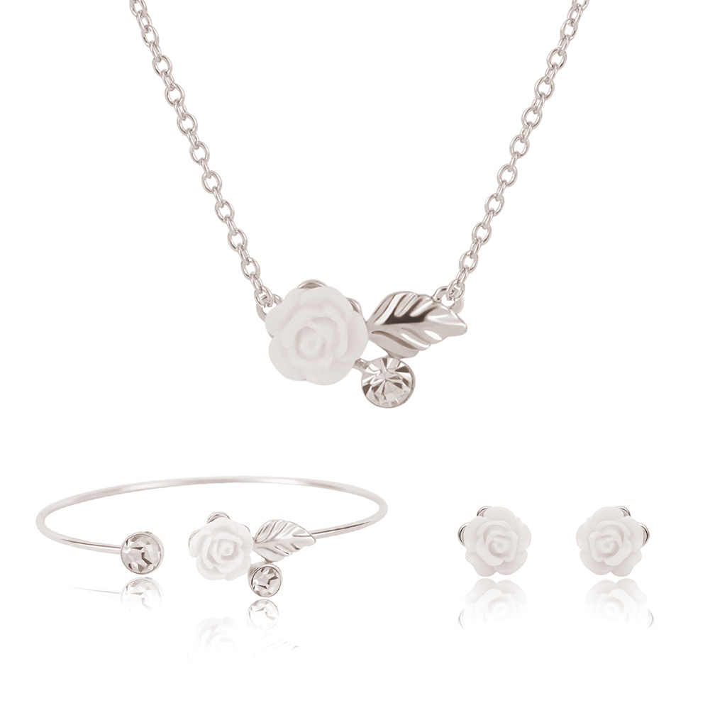 Women's flower Droplets Link Necklace Pendant Earring Charm Jewelry Set gargantilha Gifts Wedding