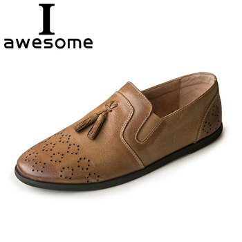 Handmade Retro Vintage High Quality Genuine Leather Men Flats tassel Men Shoes Comfortable Male Business Casual Shoes Loafers