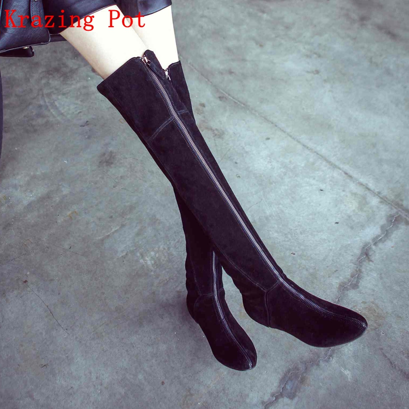 все цены на Krazing Pot cow suede round toe winter shoes height increasing zipper women streetwear keep warm over the knee stretch boots L25 онлайн