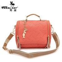 FERAL CAT Senior brand PU women handbags animal embossed tassel shoulder ladies bag girl zipper solid color small square bag 7