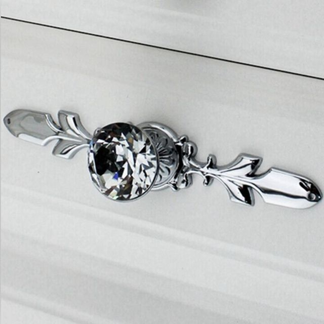 Beau Fashion Duluxe Diamond Cabinet Handle Crystal Drawer Knob Silver Chrome  Dresser Cupboard Pull 170mm Back Plate
