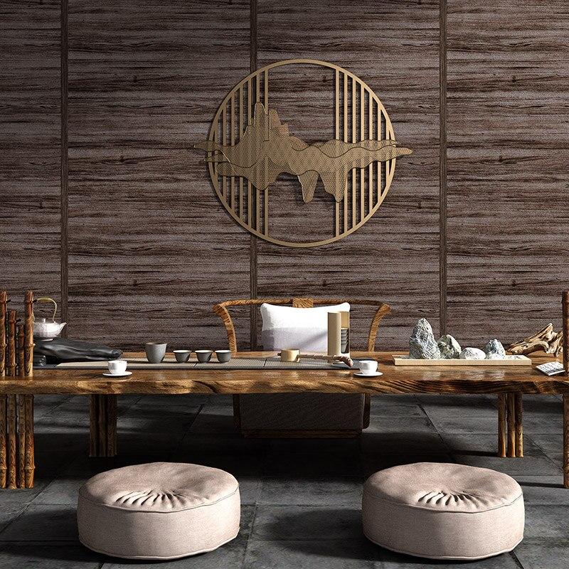 Décoration de la maison, Imitation de bois Vintage de Grain, papier peint de Style chinois, Texture étanche en PVC, papier mural, salon