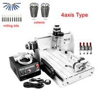 3d cnc máquina de gravura do cnc 3040 com 4th eixo (eixo de Rotação)  parafuso da esfera projeto desktop fresadora com ER11 recolher|axis|axis cnc|  -