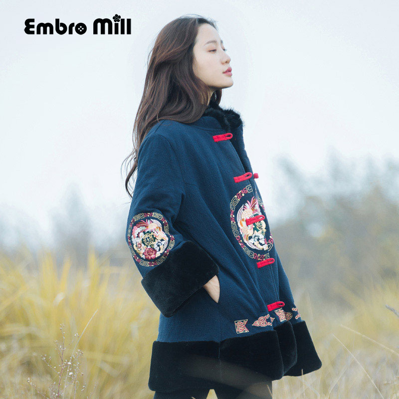 Embro Mill Autumn coats for women vintage royal embroidery Chinese style flowers lady loose warm lady trench coat female M XXL