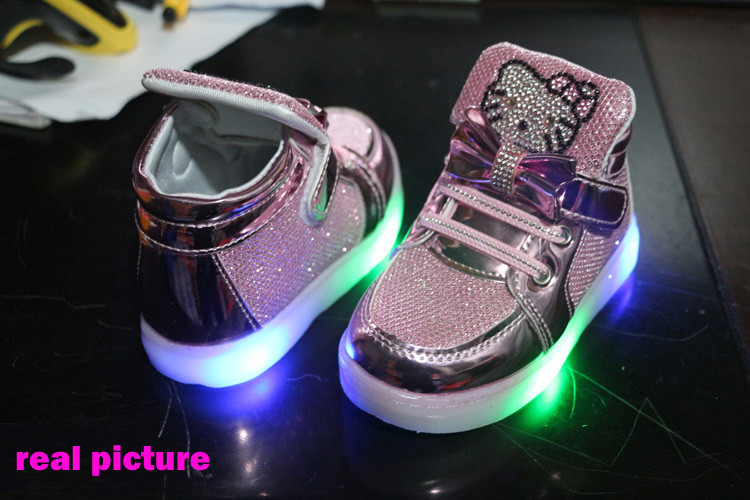Girls shoes baby Hook Loop led shoes kids light up glowing sneakers toddler Girls princess children shoes girls with light 16