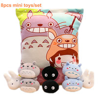 8pcs totoro Family Plush Toy Creative Stuffed Animal Pillow Japan Anime mini dolls in A Bag Throw Pillow Cushion gift for Child