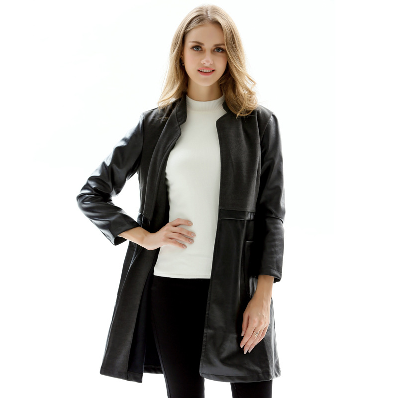 Patchwork Chaqueta Mujer Black Pu Long Coat Trench Winter Woman Clothes Casaco Feminino Big Size 5XL Women Faux   Leather   Jacket
