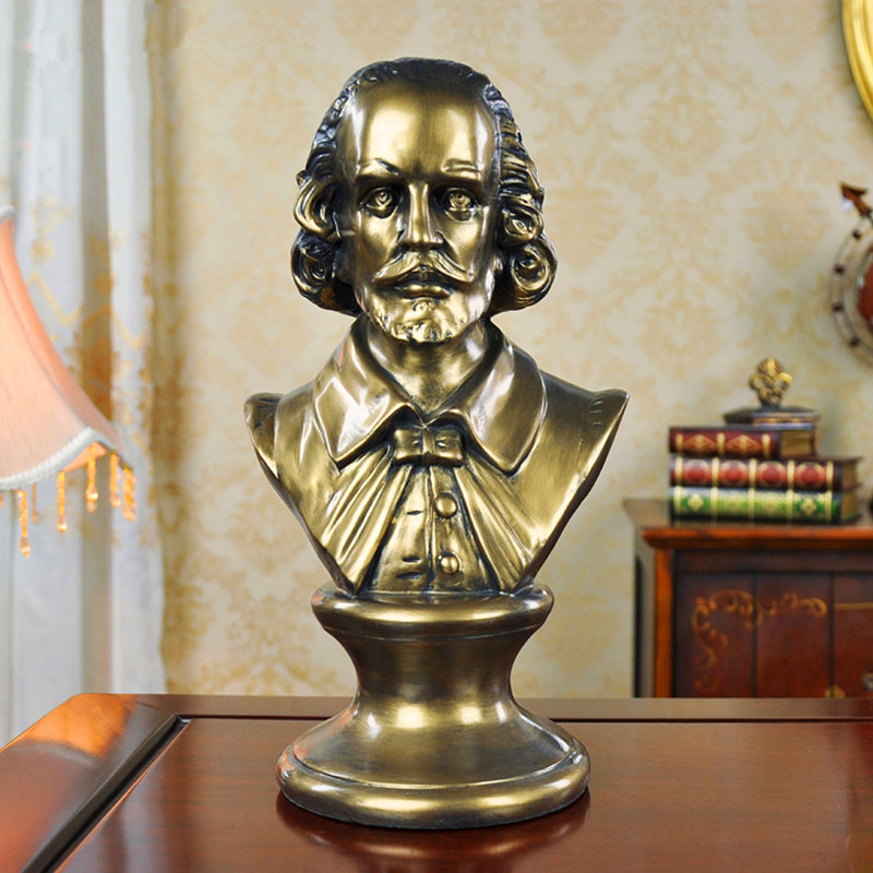 William Shakespeare Head Portraits Bust Renaissance Statue Home Decoration Resin Craftwork Sketch Practice 31CM L2571William Shakespeare Head Portraits Bust Renaissance Statue Home Decoration Resin Craftwork Sketch Practice 31CM L2571
