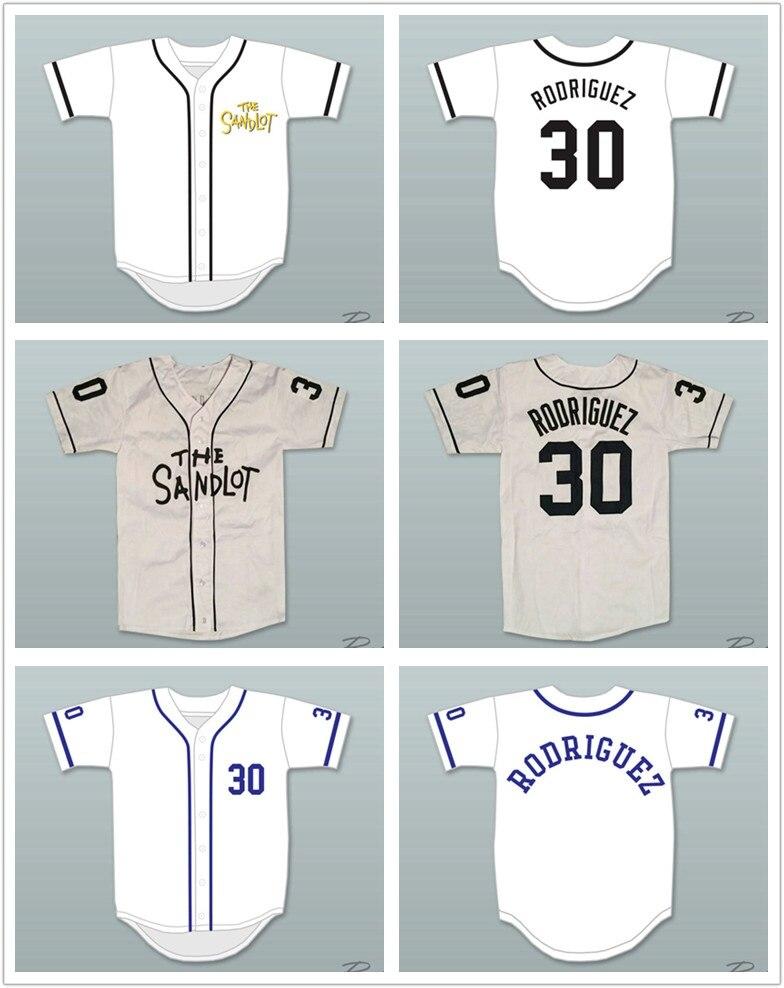 Mike Vitar Benny  The Jet  Rodriguez 30 Bianco Jersey di Baseball Il Sandlot  Extrasize Dimensione 3ec5af294