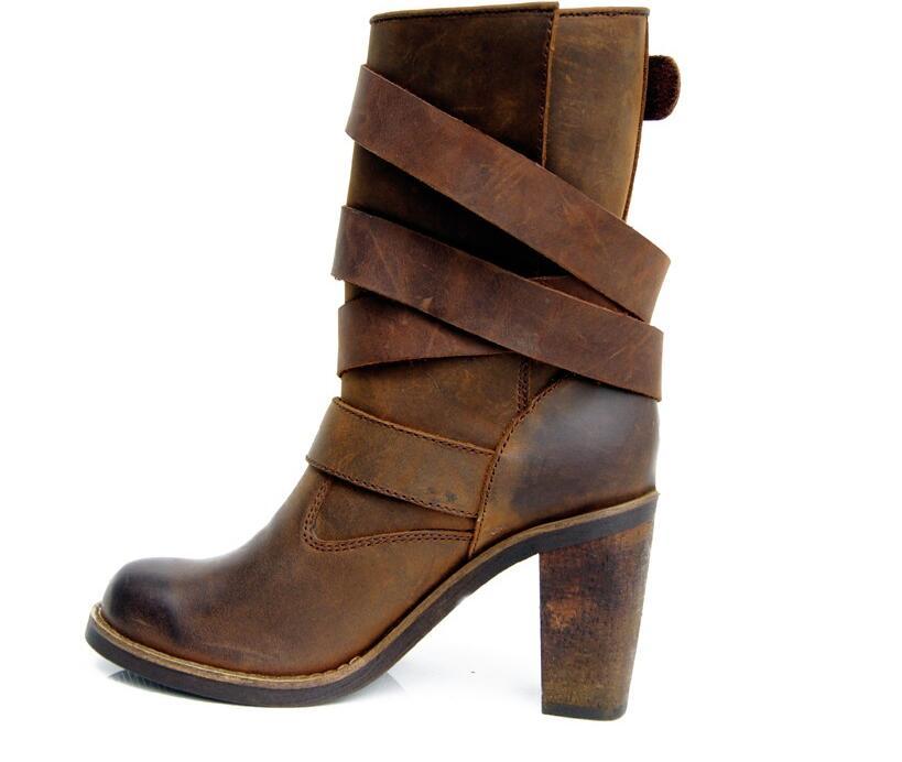 Sapato feminino balck brun véritable en cuir chunky talons hauts botas boucle sangle western cowboy bottes de pluie bottes femme chaussures