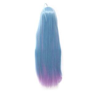 """Image 3 - L דוא""""ל פאה חדש לא משחק לא חיים שירו קוספליי פאות 100 cm כחול שיפוע חום עמיד סינטטי שיער perucas נשים פאת קוספליי"""