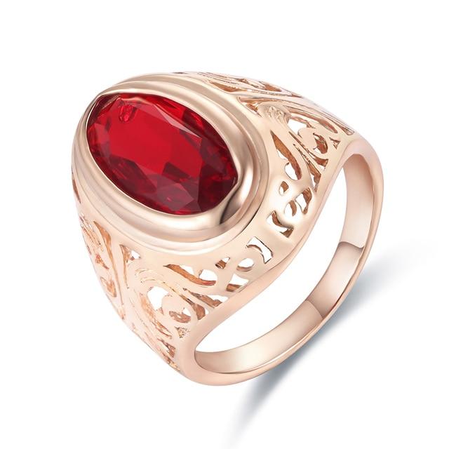 Fj Grossen Roten Stein Cubic Zirkon Ringe Damen Herren 585 Rose Gold