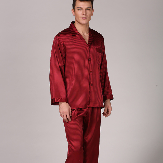 Men s stripe silk pajamas set fake silk spring long-sleeved pants suit  large Size home service sleepwear 4fd69008e
