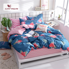 SlowDream Blue Flamingos Bedspread Striped Bed Fitted Sheet On Elastic Band Corners Duvet Cover Set Double Queen Bed Linen Set недорого