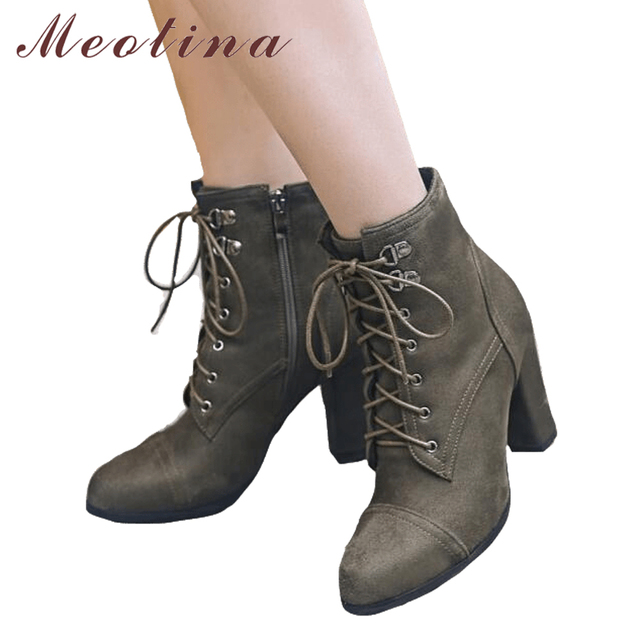 Meotina Damens Ankle Winter Stiefel Winter Ankle High Heels Stiefel Lace Up Thick Heel ... 406817