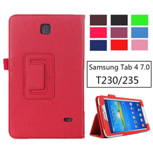 SM-T231 SM-T230 Litchi PU Leather Flip Case Cover For Samsung Galaxy Tab 4 7.0 T230 T231 T235 Stand Cases 7 inch Tablet mosunx simple stone new case stand cover for samsung galaxy tab 4 7inch tablet sm t230 0919