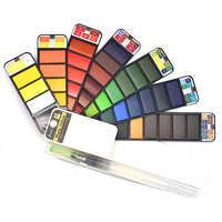 Ensemble de peinture aquarelle solide supérieure 18/25/33/42 couleurs avec pinceau à eau Pigment aquarelle pour dessiner des fournitures d'art