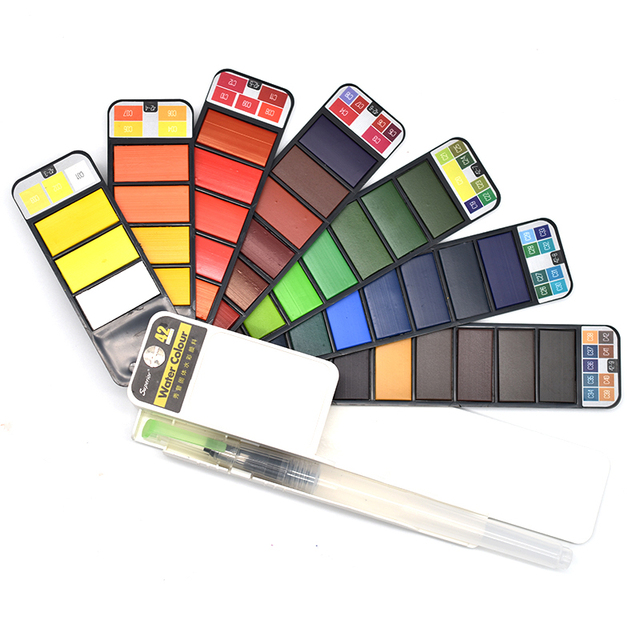 Juego de pintura de acuarela sólida de colores Superior 18/25/33/42 con pincel de agua pigmento de acuarela para dibujar arte suministros