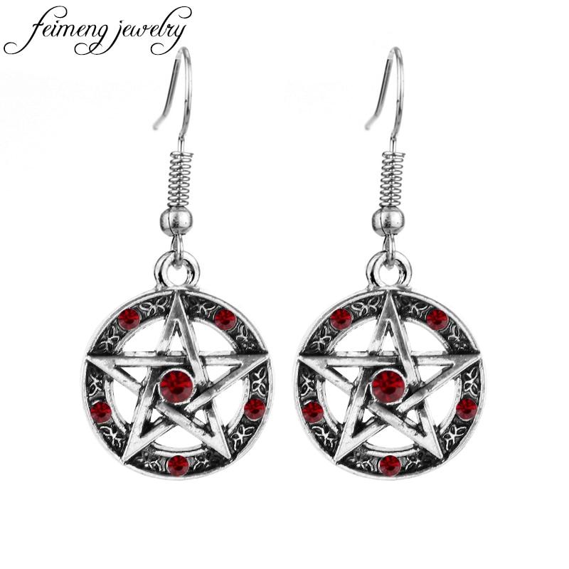 feimeng jewelry Supernatural Pentagram Earrings Vintage Pentacle Red Black Crystal Dangle Earrings For Women Fashion Accessories